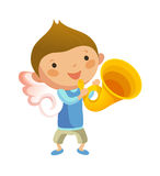 Boy with angel wings. And holding trumpet Royalty Free Stock Image