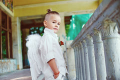 Boy with angel wings on old city background Stock Photos