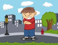The boy is angry standing on the road with city background cartoon Royalty Free Stock Image