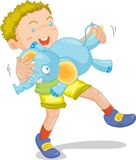 Boy with animal toy. Illustration of  a boy with animal toy on white Royalty Free Stock Images
