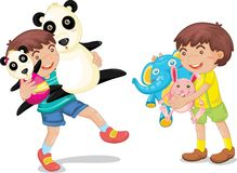 boy with animal toys Stock Image