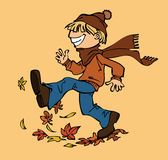 Boy ans the fallen leaves in the autumn Stock Images
