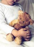 Boy ant teddy bear. Boy and teddy bear. safety and friendship concepts Royalty Free Stock Photography