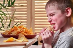 Boy with appetite is eating a delicious hot dog. Hungry child willingly tears his teeth and chews hotdog. Fast food. royalty free stock images