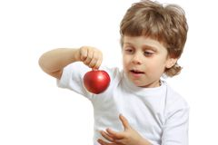 Boy with an apple Royalty Free Stock Photos
