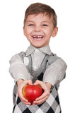 Boy with apple Stock Photo