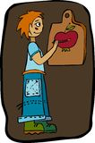 Boy and apple. Boy in blue clothes draws paints an apple Royalty Free Stock Photo