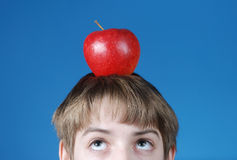 Boy with apple on his head. Kid with red apple on his head on blue background Stock Images