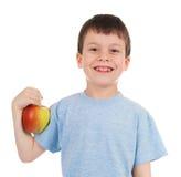 Boy with apple isolated Stock Photos