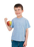 Boy with apple isolated Royalty Free Stock Photos