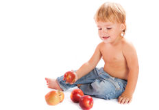 Boy with an apples Stock Photo