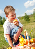 Boy with apples Stock Photography