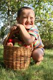 Boy with apples Stock Images