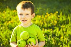 Boy with apples Stock Photos