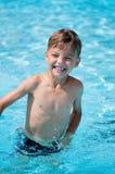 Boy at aqua park stock photography