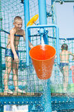 Boy in aqua park Stock Photos