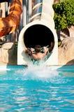 Boy at aqua park Royalty Free Stock Image