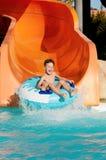 Boy at aqua park Stock Photo