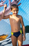 Boy in aqua park Stock Image