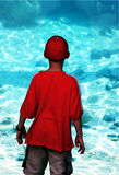 Boy in the aquarium. Fashinated Royalty Free Stock Images