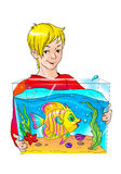 Boy with aquarium and fish. Drawing of boy with exotic fish in aquarium Stock Photography