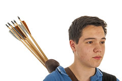Boy archer with arrows in closeup Stock Photo