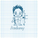 Boy archer with bow in sketch sryle Royalty Free Stock Photography
