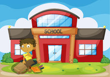 A boy arranging his things in front of the school. Illustration of a boy arranging his things in front of the school Royalty Free Stock Photography