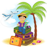 Boy arrived on summer  holiday on the sea Royalty Free Stock Photography