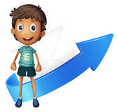 Boy, arrow and envelop Stock Photo
