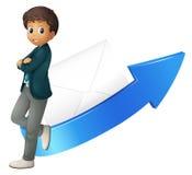 Boy, arrow and envelope Stock Image