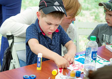 Boy a art and craft workshop Stock Photography