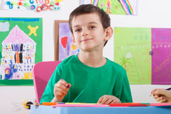 Boy on art lessons at school Royalty Free Stock Photography