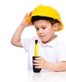 Boy as a construction worker with tape measure Royalty Free Stock Photography