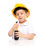 Boy as a construction worker with tape measure Royalty Free Stock Photos