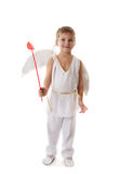 Boy as cupid with wings and red arrows Royalty Free Stock Photos