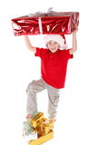 Boy as Santa Claus Stock Image