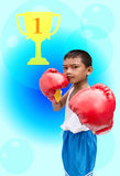 Boy asian. Playing sports boxing Stock Photo