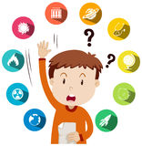 Boy asking questions about school work. Illustration Royalty Free Stock Photo