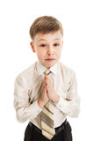 The boy asks for forgiveness.  stock images