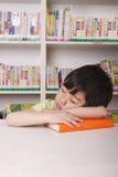 Boy Asleep on Book Royalty Free Stock Photo