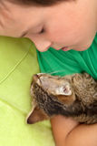 Boy asleep with his kitten Stock Photo