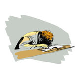 Boy asleep on a textbook education school Royalty Free Stock Photos