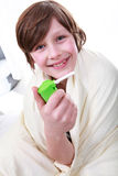 Boy with asthma Stock Photography