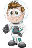 Boy astronaut character cartoon style  illustration white Stock Images