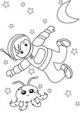 Boy Astronaut coloring page. Boy Astronaut  coloring page, useful as coloring book for kids Stock Photos
