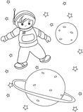 Boy Astronaut coloring page Stock Image
