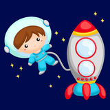 Boy astronaut at the outer space Royalty Free Stock Images