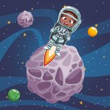 Boy astronaut in the space. Vector illustration graphic design Royalty Free Stock Photo
