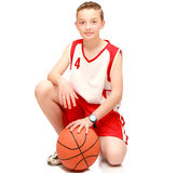 Boy athlete with the ball. On the isolated Royalty Free Stock Photography